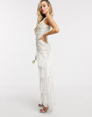 A Star Is Born bridal embellished dress in with tiered tassels