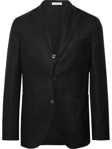 Boglioli Black K-Jacket Slim-Fit Unstructured Wool-Hopsack Blazer