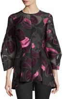 Lela Rose Leaf Fil Coupe Full-Sleeve Blouse, Fuchsia/Multi