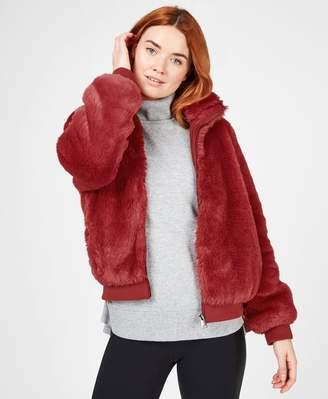 Sweaty Betty Model Faux Fur Bomber Jacket