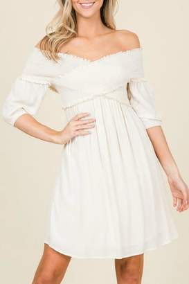 Annabelle Smocked Puff-Sleeve Dress