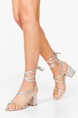Nasty Gal Womens Tie Our Lock Croc Block Heel Sandals - Silver