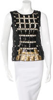 Elie Tahari Sequined Silk Blouse