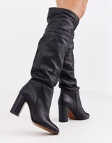 Depp black leather slouch knee boots