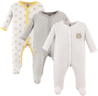 Luvable Friends Boys' Footies Neutral - Gray & Yelllow Owl Snap-Front Footie Set - Infant