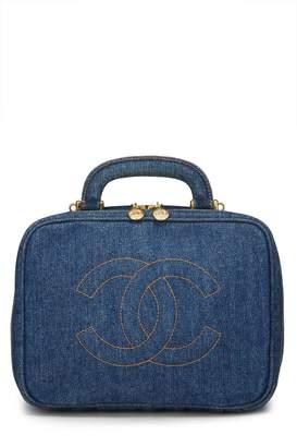 Chanel Blue Denim Lunch Box Vanity Bag