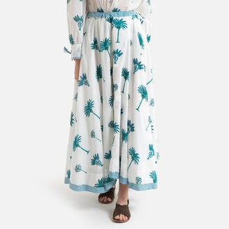 Antik Batik Palmy Cotton Maxi Skirt in Palm Tree Print