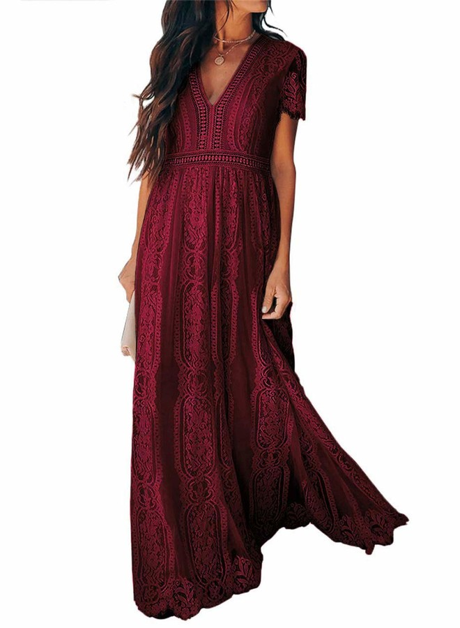 Thumbnail for your product : Bdcoco Women's V Neck Floral Lace Wedding Dress Short Sleeve Bridesmaid Evening Party Maxi Dress