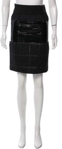 Calvin Klein Collection Patent-Accented Plaid Skirt
