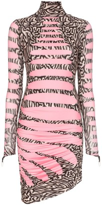 MAISIE WILEN Turtleneck Wave Print Mini Dress