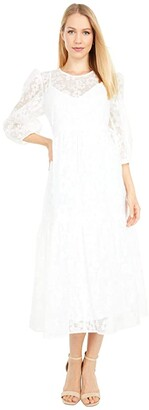 WAYF Channing Tie Back Tiered Midi Dress (Ivory Burnout Organza) Women's Dress
