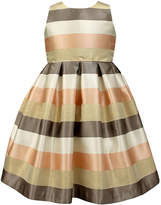 Jayne Copeland Natural & Brown Stripe Sleeveless Dress - Toddler & Girls