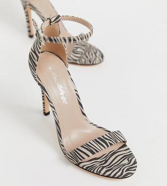 Miss Selfridge barely there sandal in zebra print-Multi