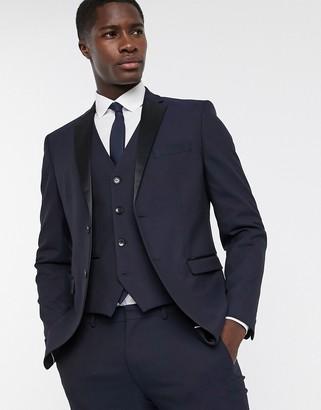 Selected slim fit tuxedo satin lapel suit jacket in navy