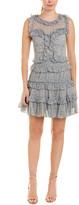 Rebecca Taylor Ruffled Tie-Waist Silk A-Line Dress