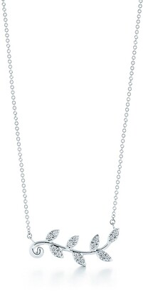 Tiffany & Co. Paloma Picasso Olive Leaf vine pendant in 18k white gold with diamonds