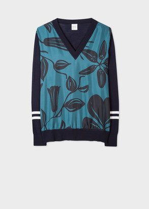 Paul Smith Women's Navy Wool Sweater With 'Floral Cutout' Silk Front