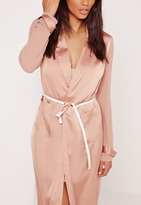 Missguided Real Leather Thread Through Belt White