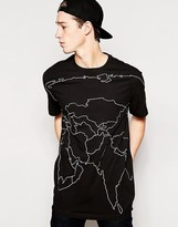 Maharishi Mid Slouch Asia Map T Shirt - Black