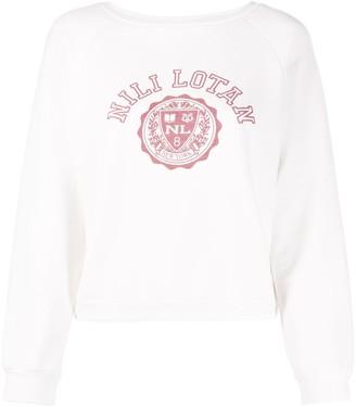 Nili Lotan Cropped Logo Print Sweatshirt