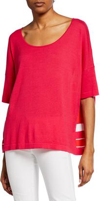 Joan Vass Striped-Back Scoop-Neck Short-Sleeve Sweater