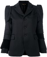 Comme des Garcons panelled pinstriped blazer - women - Cotton/Cupro/Wool - S