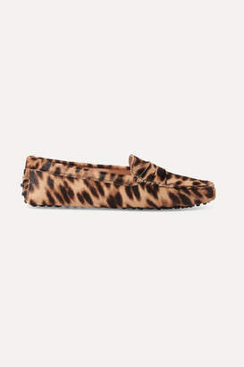 Tod's Gommino Leopard-print Calf Hair Loafers - Brown