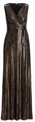 Ralph Lauren Sequined Surplice Gown