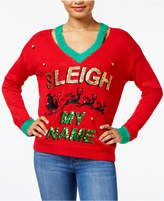 Hooked Up by Iot Juniors' Embellished Light-Up Holiday Sweater