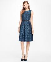 Brooks Brothers Sleeveless Floral Jacquard Pleated Dress