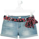 Armani Junior belted denim shorts - kids - Cotton/Polyester/Spandex/Elastane - 13 yrs