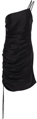 David Koma One-shoulder Ruched Satin Mini Dress
