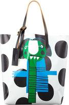Marni Girl-Print PVC Shopping Bag, Green/Blue