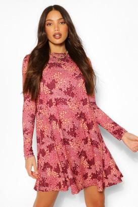 boohoo Tall Floral Print Smock Skater Dress