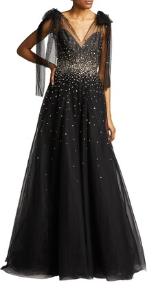 Monique Lhuillier Embroidered Tulle V-Neck Gown