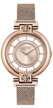 Versus By Versace Versus Women's Silver Lake Rose Gold-Tone Stainless Steel Mesh Watch 36mm