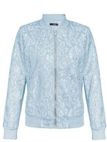 Quiz Pale Blue Lace Bomber Jacket