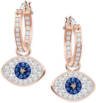 Swarovski Rose Gold-Tone Crystal Evil Eye Small Hoop Earrings s