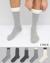 Asos Waffle Socks With Contrast Welts 5 Pack