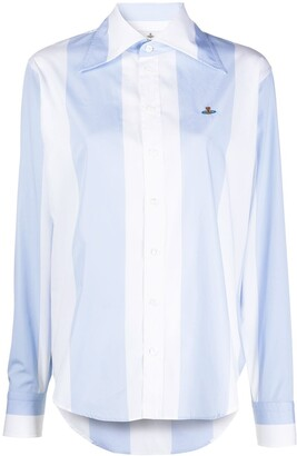 Vivienne Westwood Logo Embroidered Striped Shirt