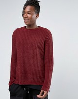 Asos Crew Sweater with Split Hem in Chenille