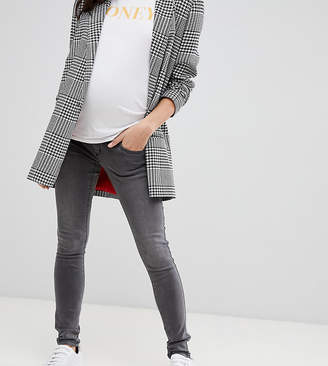 Mama Licious Mama.Licious Mamalicious maternity over the bump washed jeans in gray
