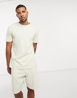 ASOS DESIGN lounge t-shirt and short pyjama set in beige