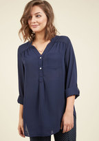 ModCloth Pam Breeze-ly Long Sleeve Tunic in Navy in XXS