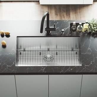 "Ludlow VIGO 32"" L x 19"" W Undermount Kitchen Sink with Faucet, Grid, Strainer and Soap Dispenser VIGO"