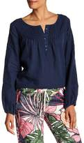 Tommy Bahama Embroidered Long Sleeve Linen Blouse