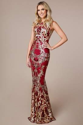 Goddiva Stephanie Pratt Scalloped Hem Sequin Maxi Dress