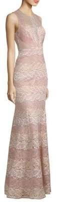 BCBGMAXAZRIA Sage Sleeveless Stripe Lace Gown
