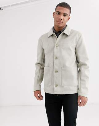 Asos DESIGN faux suede worker jacket in stone