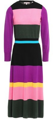 Parker Chinti & Color-block Wool Midi Dress